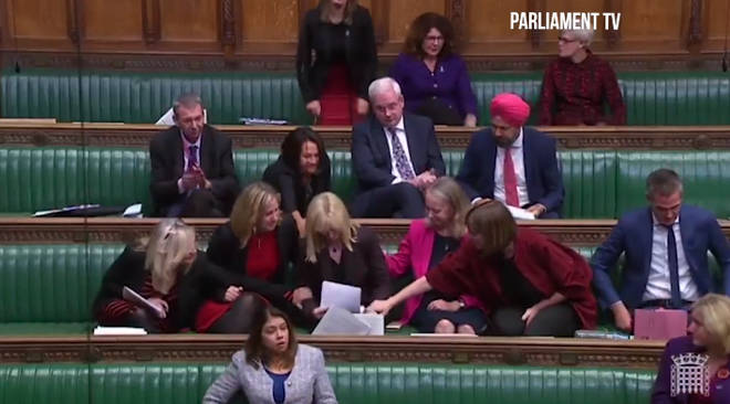 MP Rosie Duffield was comforted by colleagues after delivering her speech