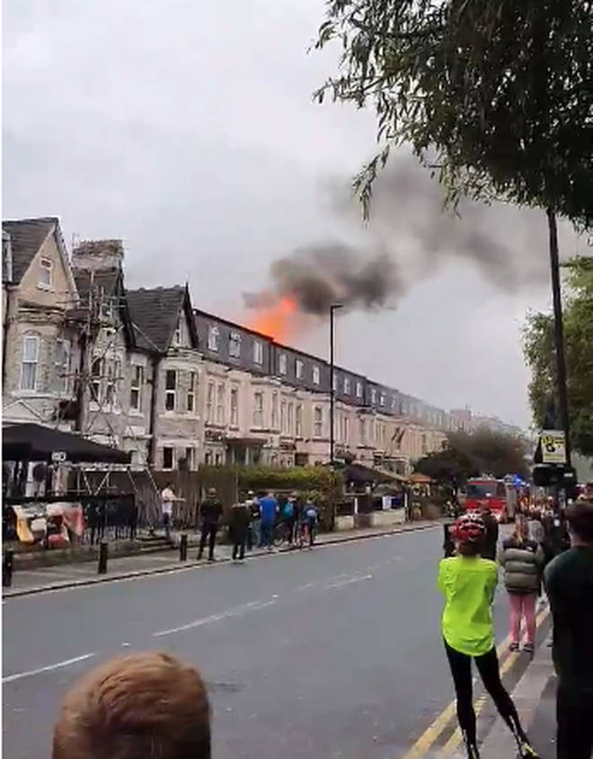 Flames coming from the Caledonian Hotel in Newcastle where 7 fire crews are in attendance.