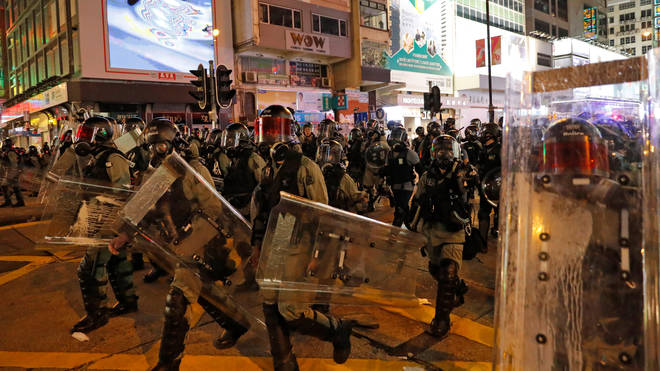 Riot police spilled onto Hong Kong's streets