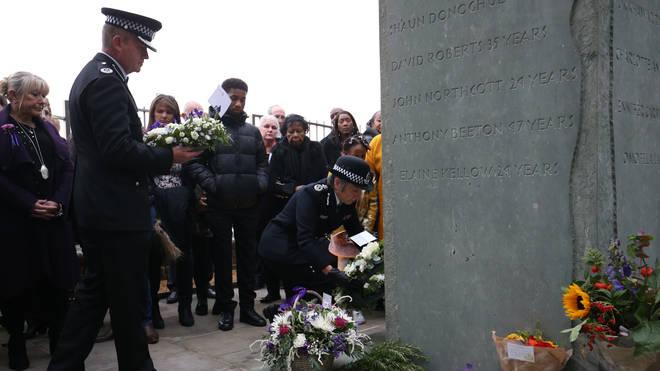 Dame Cressida Dick laid flowers at the memorial