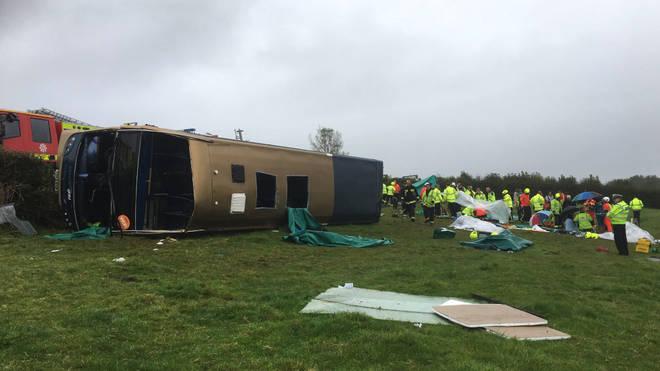 Police in Devon are responding to a bus crash in Devon