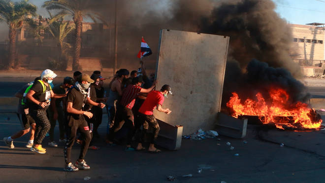 Protesters clashed with security forces on Baghdad