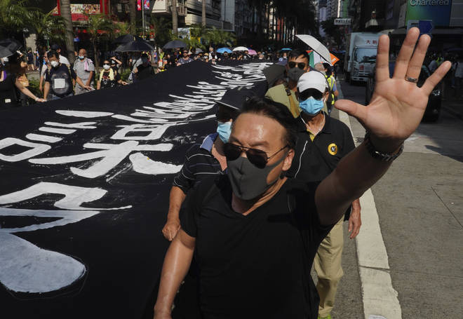 The government brought in a ban on face masks at protests on Friday