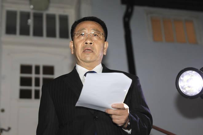North Korean negotiator Kim Miyong Gil spoke outside the Korean Embassy in Stockholm