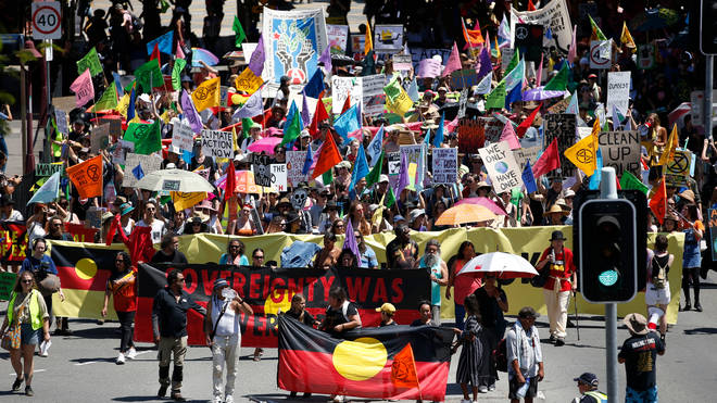 Protesters took to the streets of Brisbane, Australia, on the first day of action