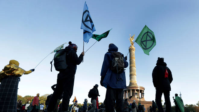 Activists gathered at the Victory Column in Berlin