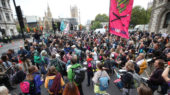 Huge crowds of XR protesters gathered in Westminster