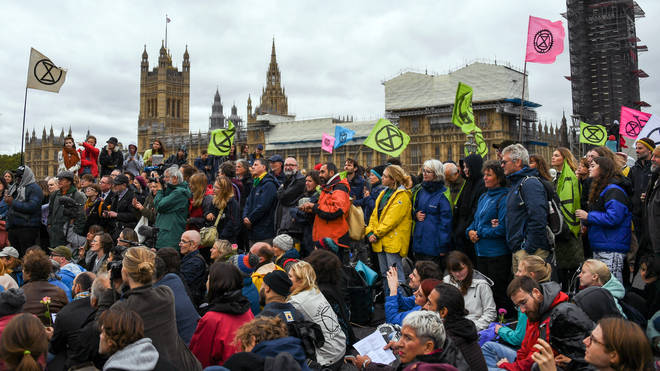 Protesters blocked Westminster Bridge on Monday