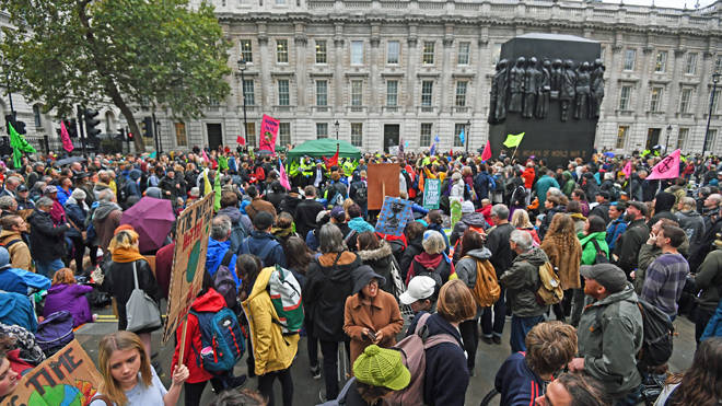 Extinction Rebellion protesters at the Cenotaph yesterday
