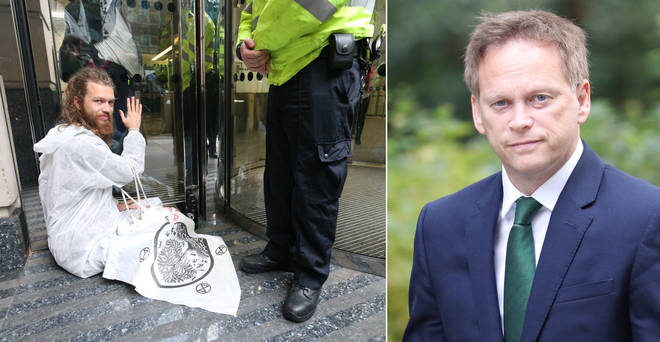 Grant Shapps heard protesters had glued themselves to his department live on LBC