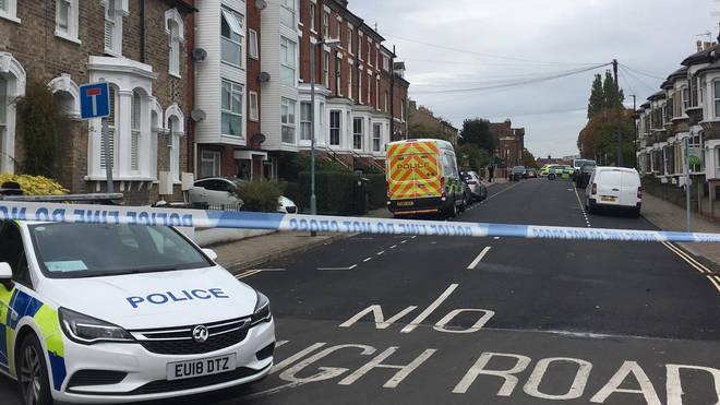 Police at the scene in Colchester