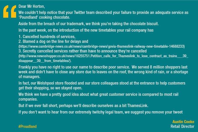 Poundland's response to Thameslink
