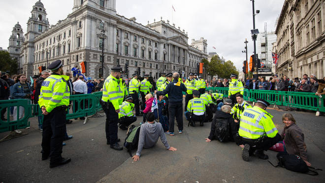There is a huge police presence across key protest sites in Westminster