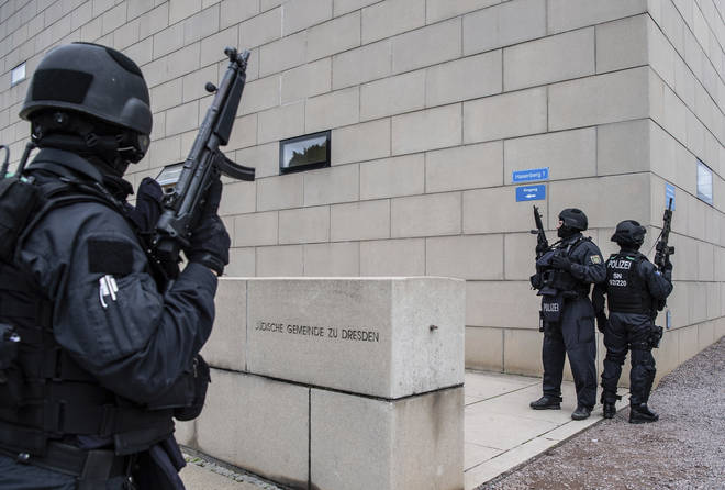 Security has been increased outside other synagogues, including the one in Dresden