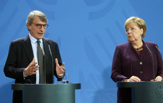 David Sassoli and Chancellor Angela Merkel made a joint statement yesterday