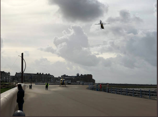 Helicopters have been brought in to tackle the blaze