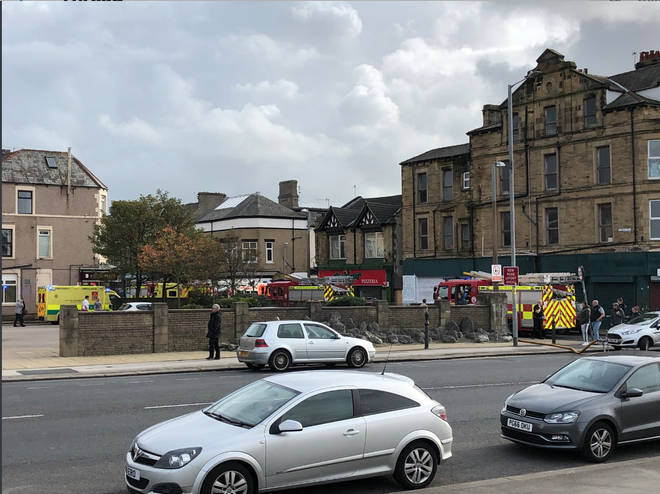 Ten fire engines from Lancashire and Cumbria fire brigades attended the fire