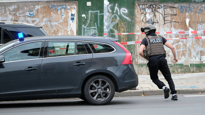 Police seen in Halle in the aftermath of the shooting
