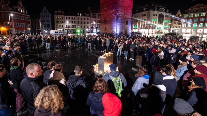 A vigil held in Halle
