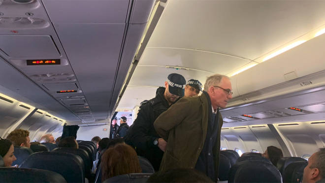 The protester caused disruption on a London City Airport flight