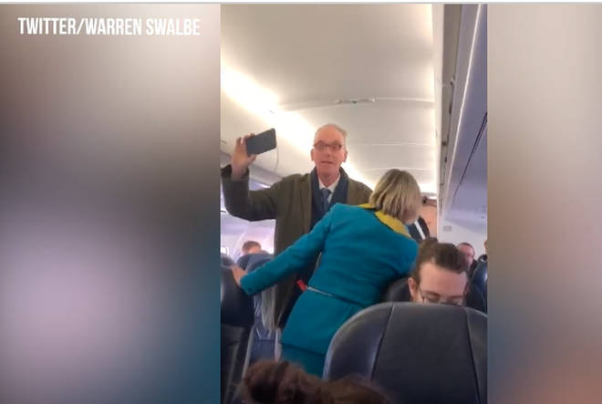 The stewardess tried to speak to the protester on the plane