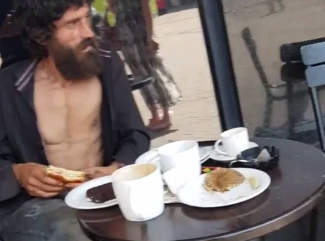 The video shows the man being asked to leave before he had finished his meal
