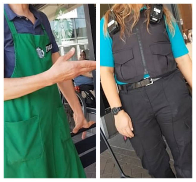 The barista and security guard can be seen asking the man to leave