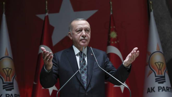 Turkey's President Recep Erdogan speaks to his ruling party officials, in Ankara, Turkey,