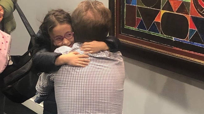 Nazanin Zaghari-Ratcliffe's husband hugged his daughter as she returned to the UK