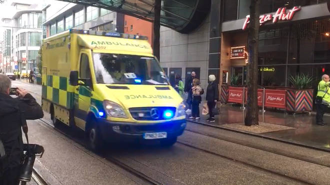 Ambulances are at the scene in Manchester