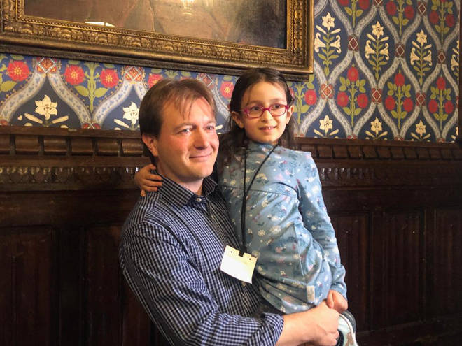Richard Ratcliffe with his daughter Gabriella Zaghari-Ratcliffe at a press conference