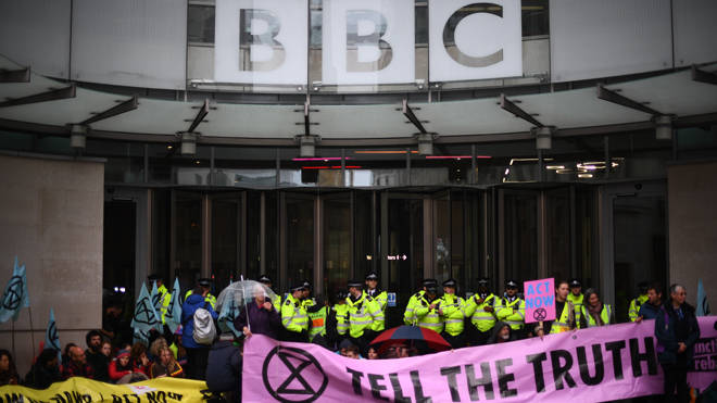 Extinction Rebellion protesters at the BBC's Broadcasting House today