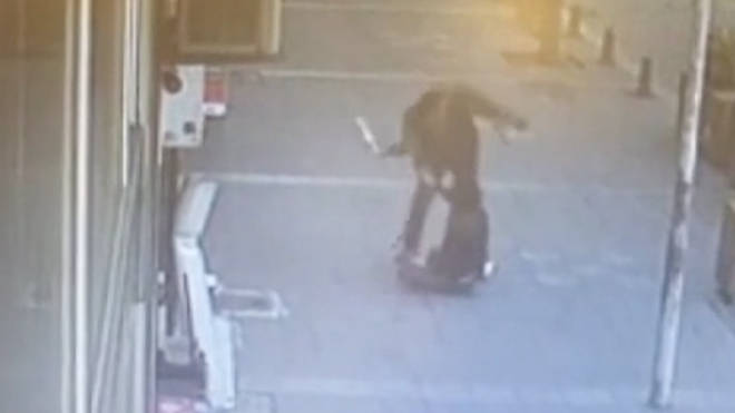 The man was seen beating his wife in a Turkish street