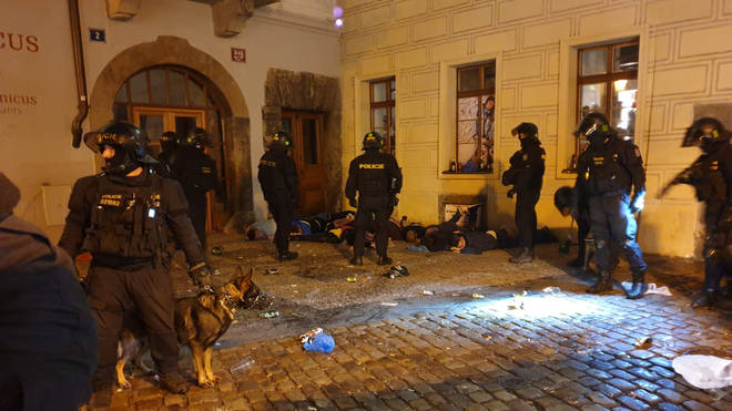 Police in Prague detained several fans