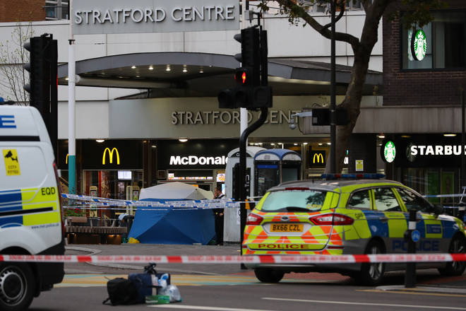 Police in Stratford, east London after a male teenager was fatally stabbed outside Stratford Broadway shortly after 3pm on Thursday.
