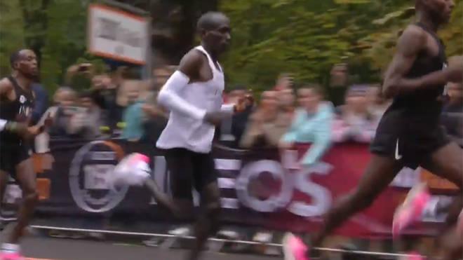 Eliud Kipchoge during his historic marathon effort
