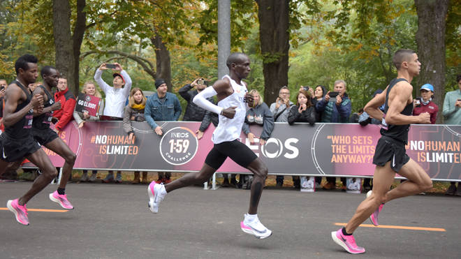 Kenyan distance runner Eliud Kipchoge finished a marathon in under two hours today