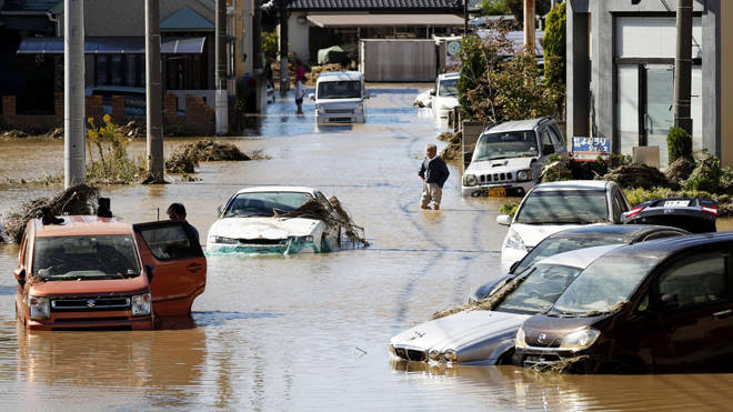 Flooded cars in the city of Sano as Hagibis struck Japan