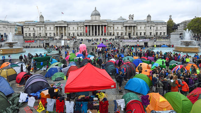 Extinction Rebellion protesters at Trafalgar Square, London