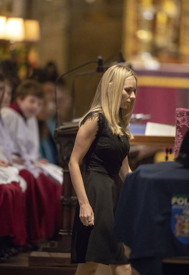 PC Harper's widow, Lissie Harper, read a eulogy at the funeral