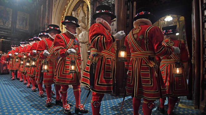 Yeomen of the guard conduct a search of the Palace of Westminster