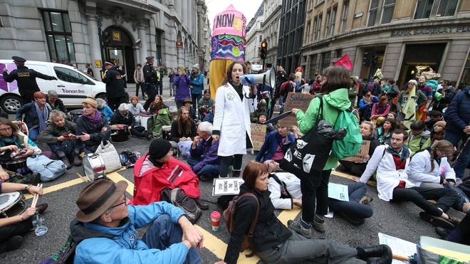 Protesters blocked a busy junction outside the Bank of England