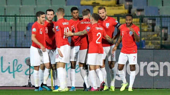 The England squad during the Euro 2020 qualifying match in Sofia