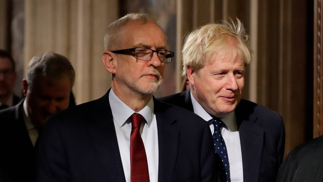 Jeremy Corbyn (left) and Boris Johnson attend the State Opening of Parliament