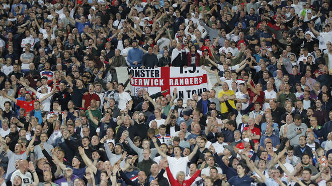 England fans during the game in Sofia on Monday