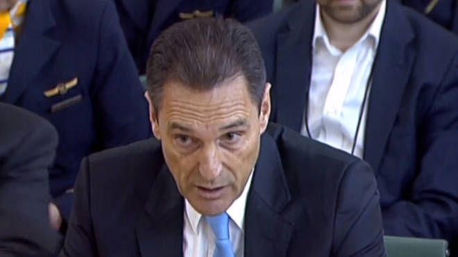 Former CEO of Thomas Cook Peter Fankhauser speaking to the House of Commons Business, Energy and Industrial Strategy Committee