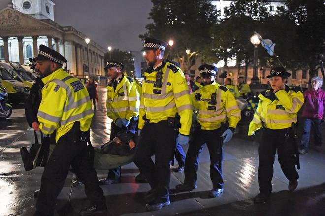 Extinction Rebellion protestors were removed from Trafalgar Square last night