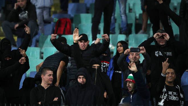 A section of Bulgarian fans were seen doing Nazi salutes