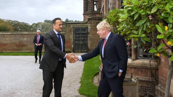 Boris Johnson (right) met Irish leader Leo Varadkar for talks last week
