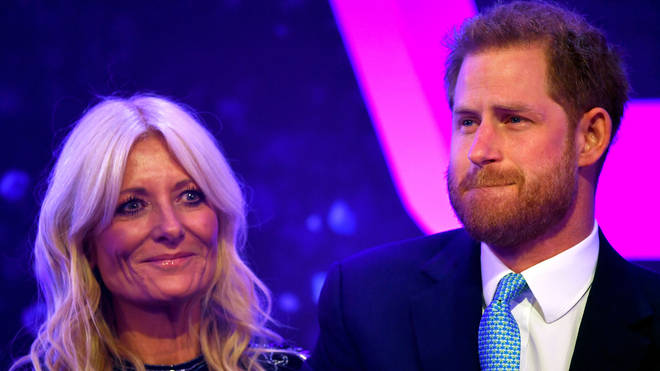 Prince Harry with co-host Gaby Roslin